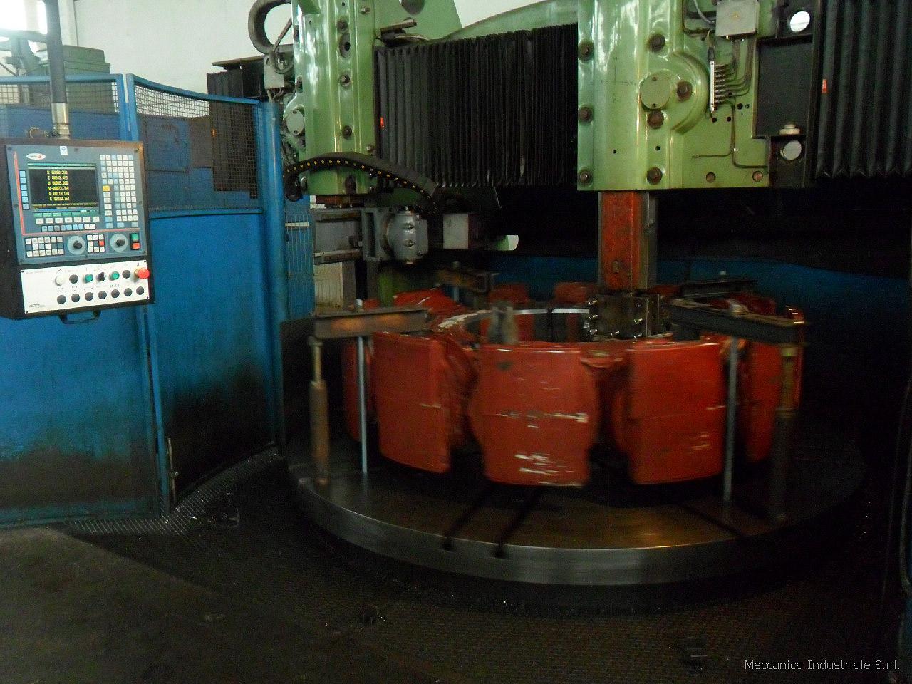 Tornio verticale CNC mod. SCHIESS retrofittato con CNC FAGOR 8050, diametro tornibile 3000 mm x 2000 mm, quinto asse controllato con testa per foratura / fresatura