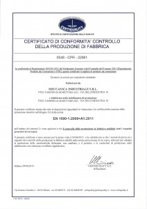 Certificato di conformità controllo della produzione di fabbrica