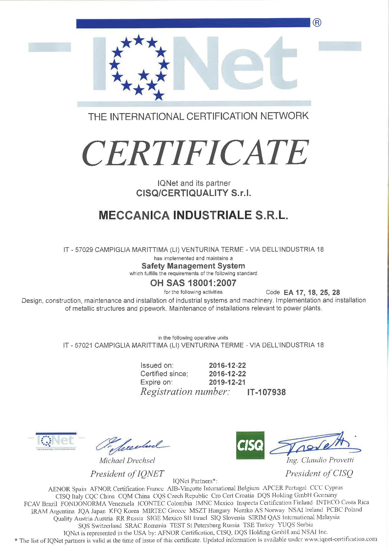 Quality System Certifications Meccanica Indistriale Srl