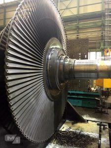 Lavorazione rotore turbina 60 mw su alesatrice